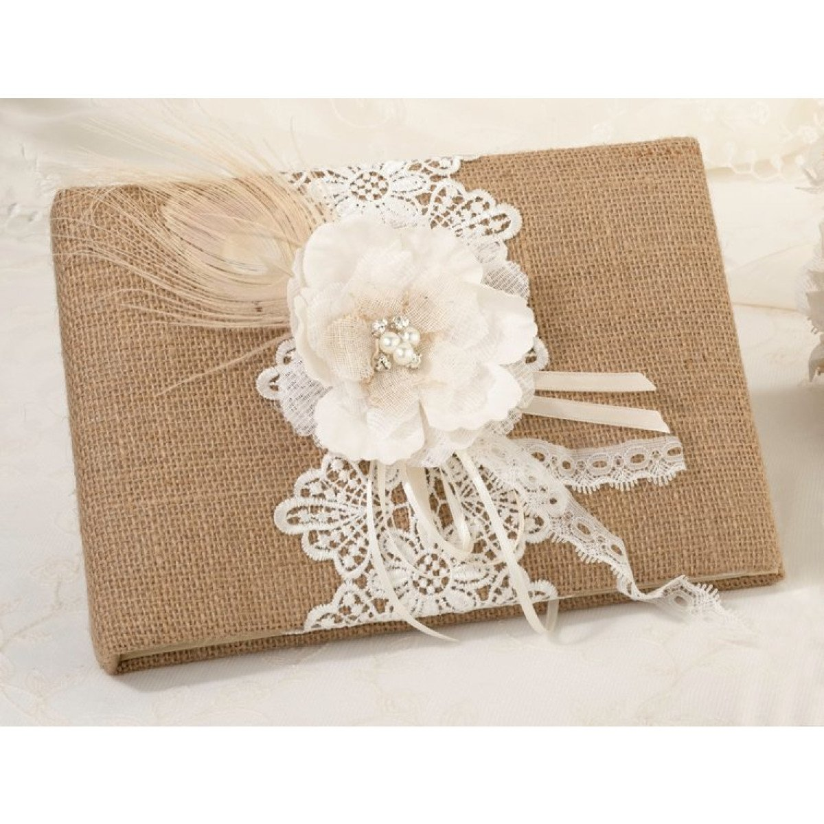Diy Lace Book Cover : Burlap and lace guestbook