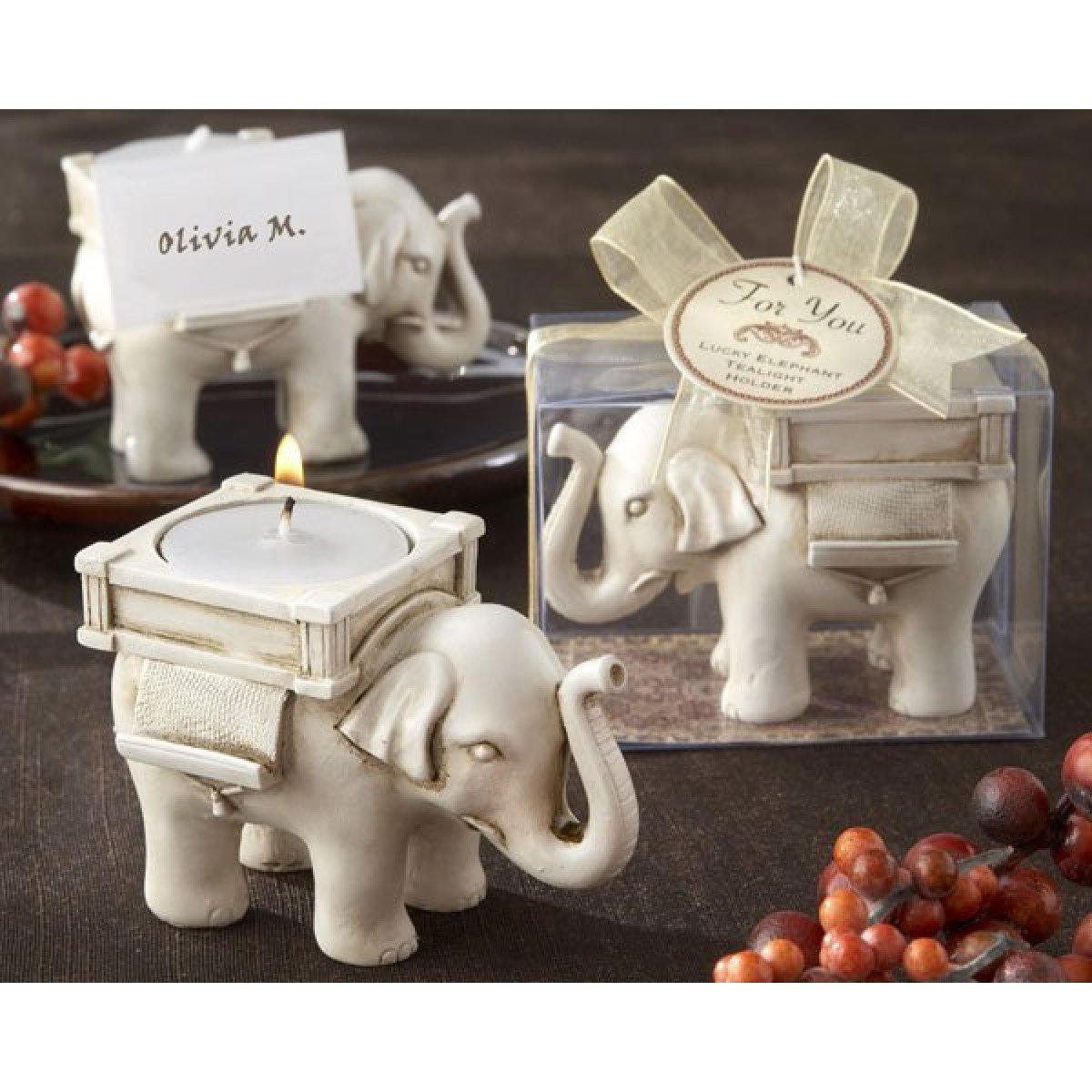 Luck Elephant Ivory Candle Holder