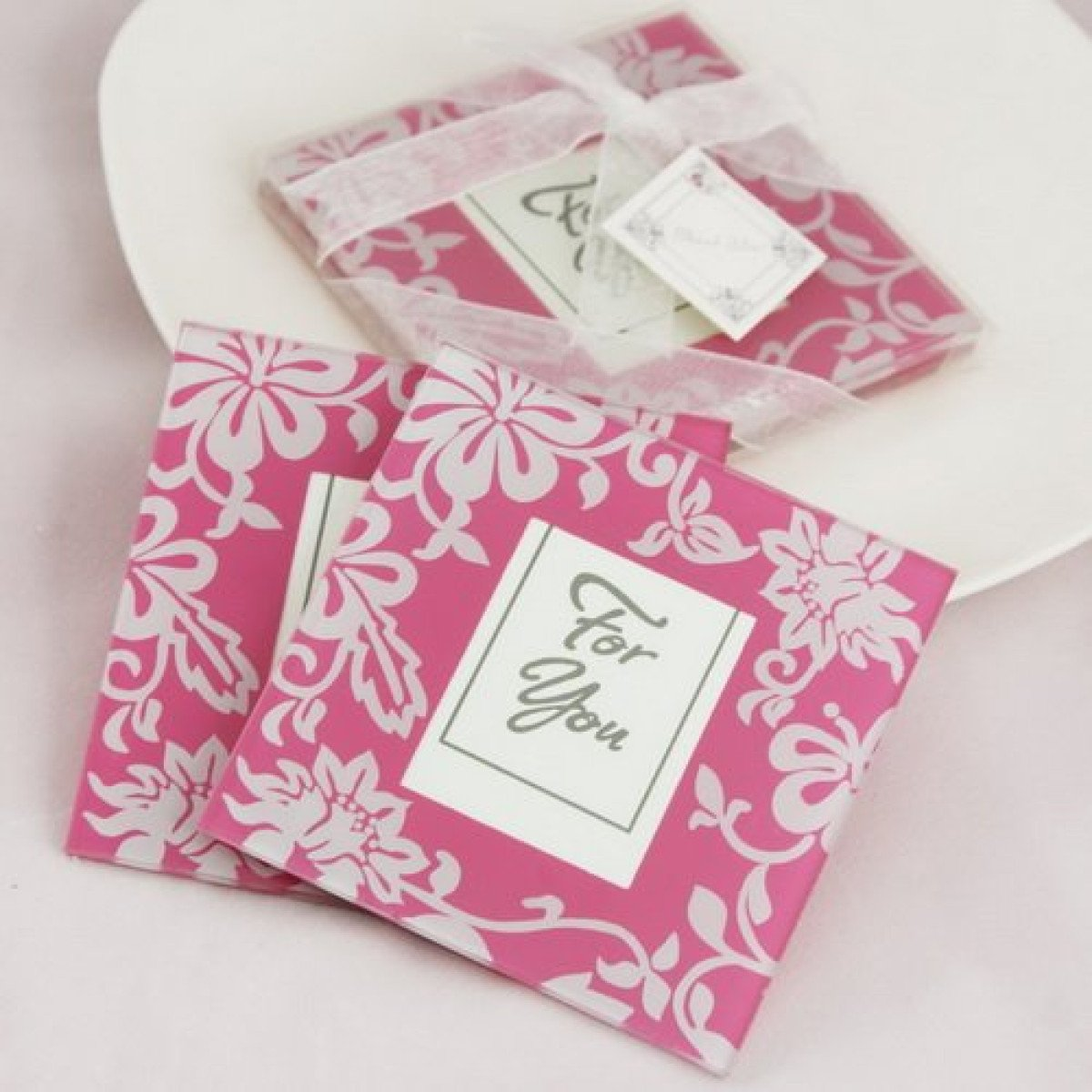 Pink Floral Coasters - set of 2