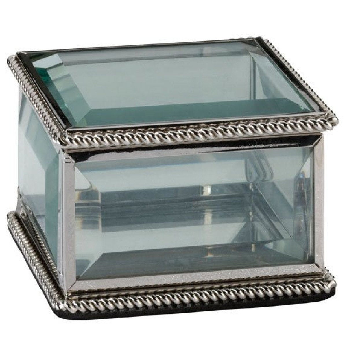 Flourish Silver Glass Ring Box