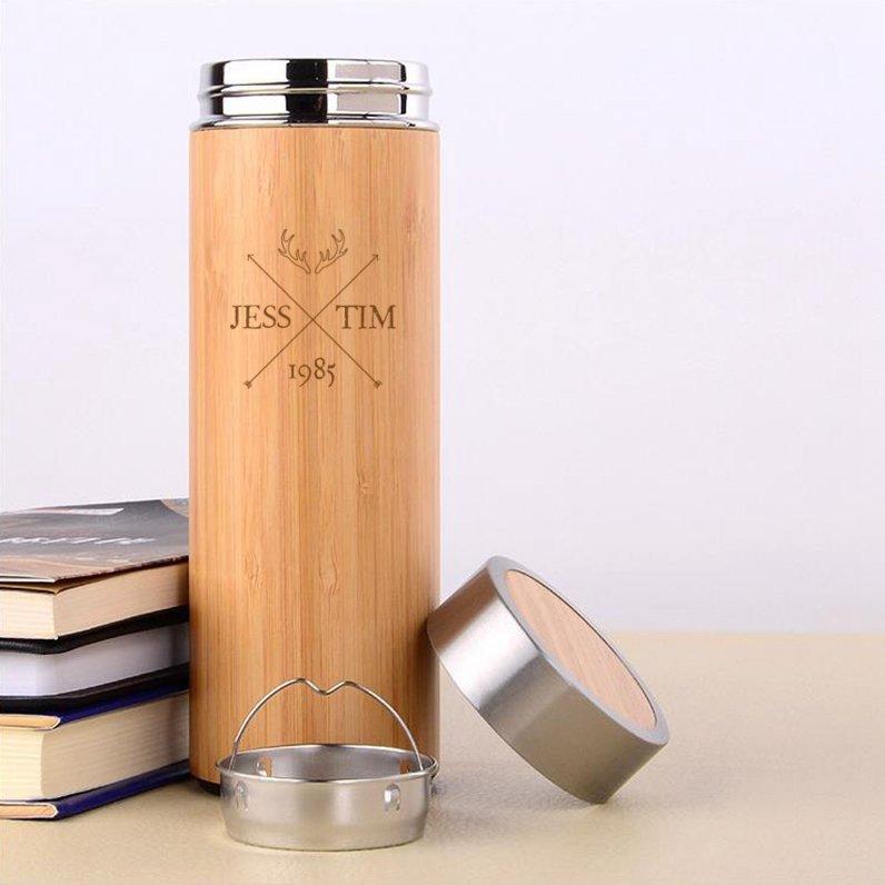 Antler Cross Wooden Flask
