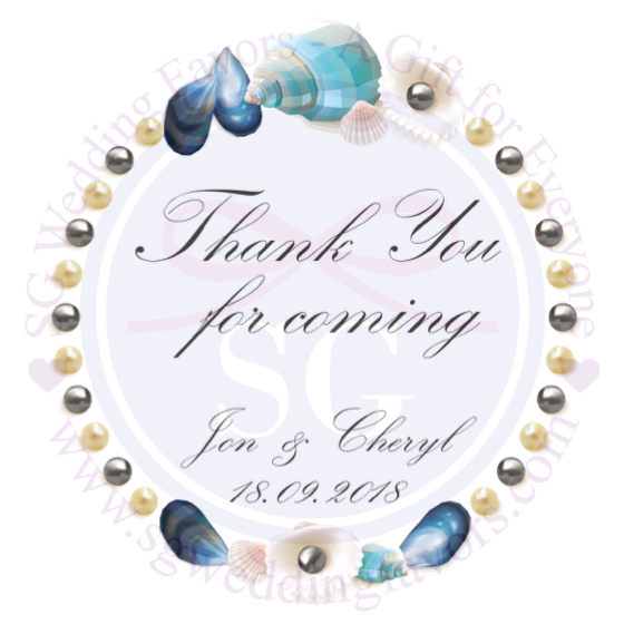 Blue Shell Wreath Tags/Stickers
