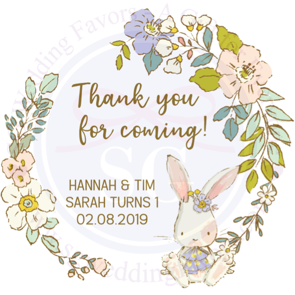 Bunny Wreath Tags/Stickers