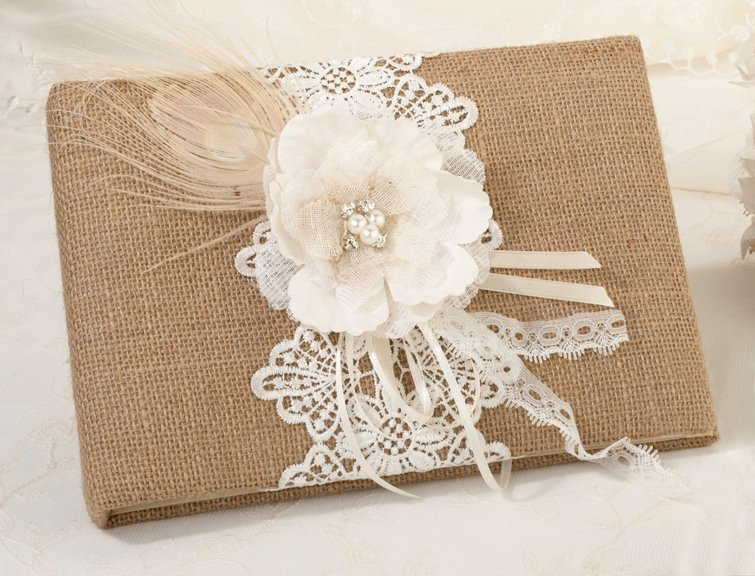Burlap and Lace Guestbook, wedding guest book, birthday, party, events