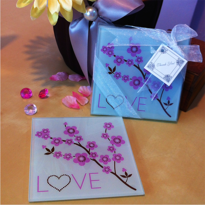 Cherry Blossom LOVE Coasters Favors