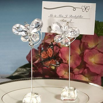 Crystal Butterfly Place Card Holders - White