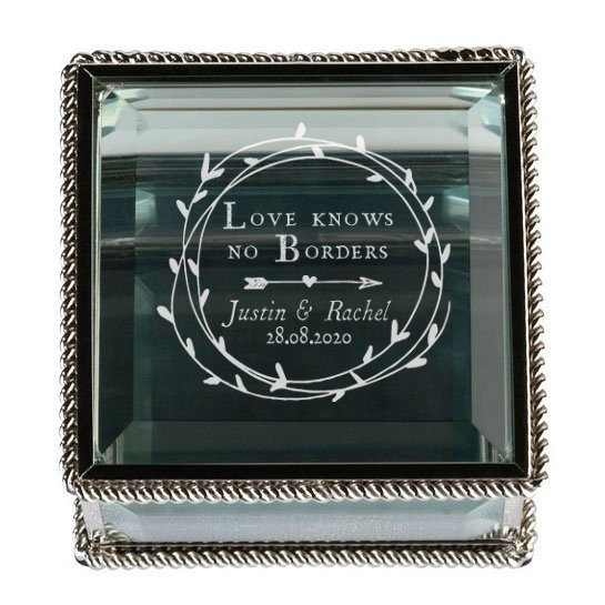 Cupid's Wreath Silver Glass Ring Box