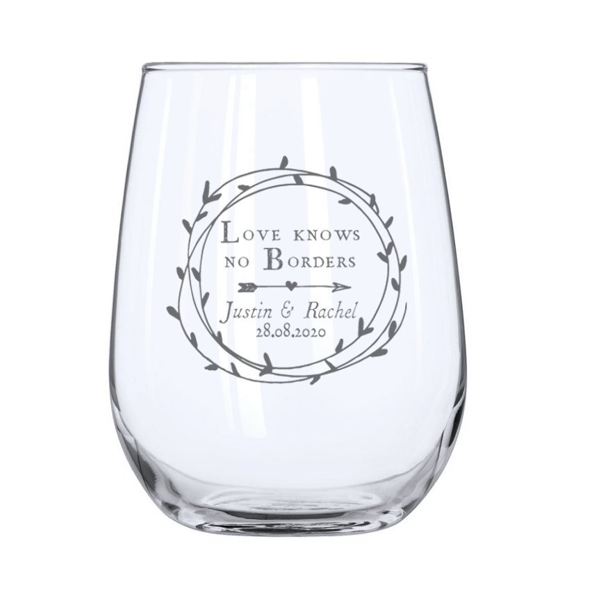 Cupid's Wreath Stemless Wine Glass