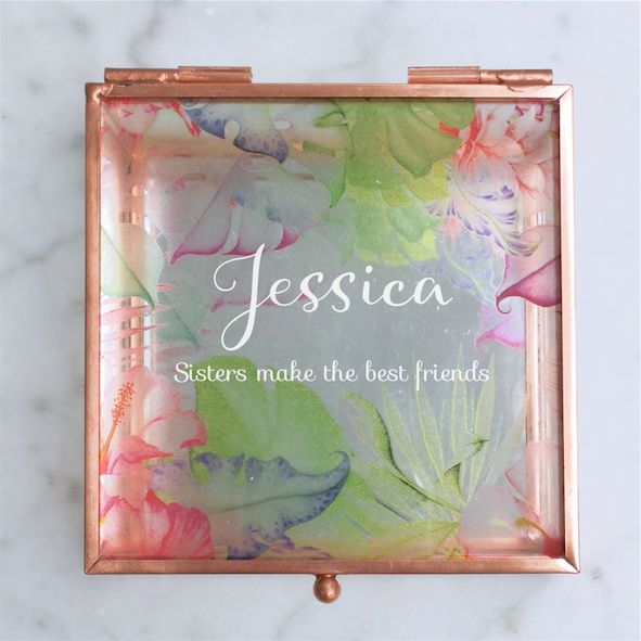Delightful Script Tropical Rose Gold Glass Jewellery Box