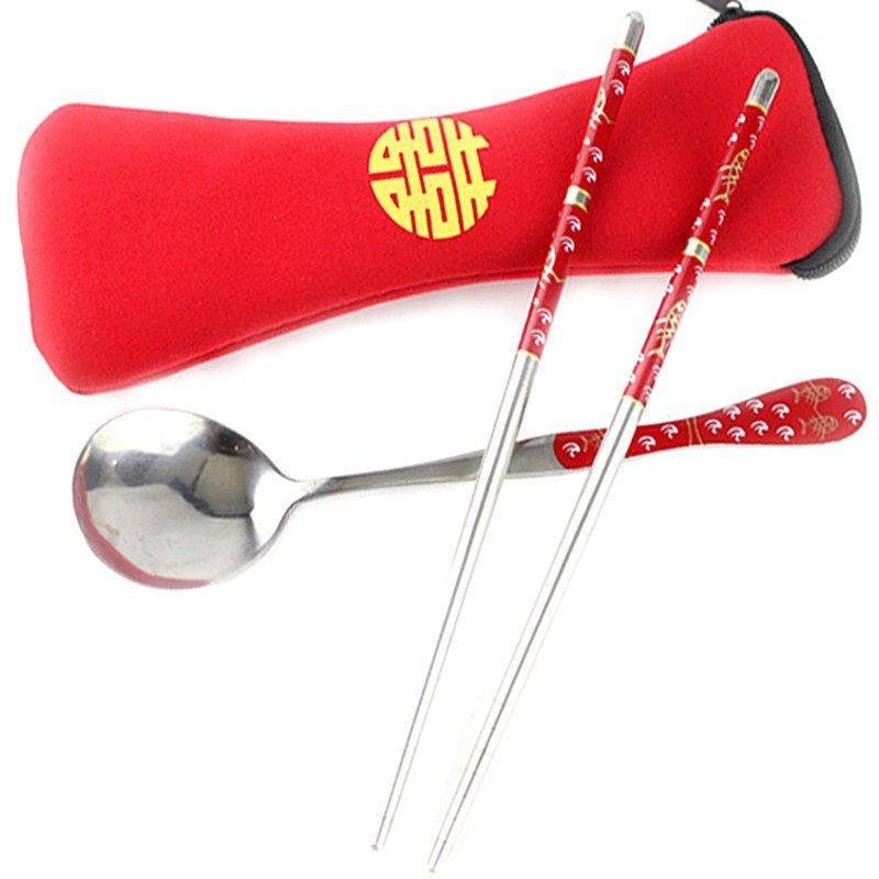 Double Happiness Spoon & Chopsticks Favors