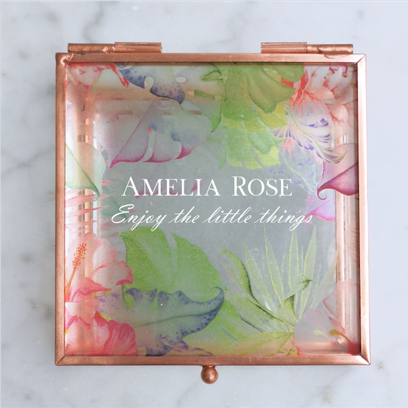 Elegant Script Tropical Rose Gold Glass Jewellery Box