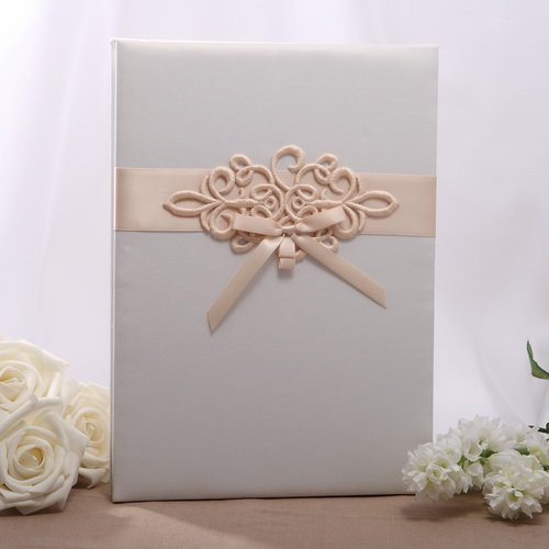 Embroidered Motif Accordion Guestbook