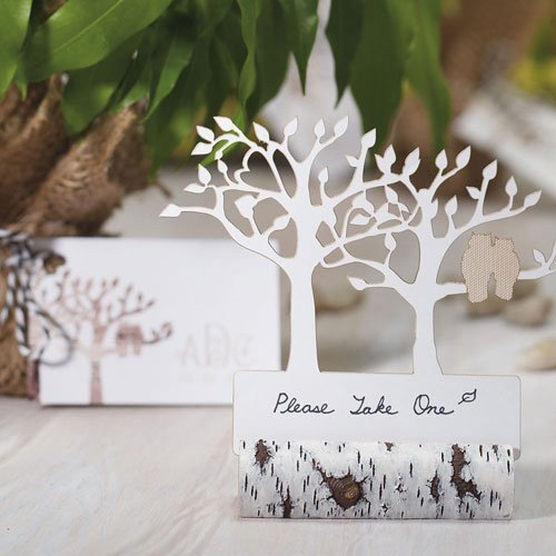 Faux Birch Log Card Holder Favors