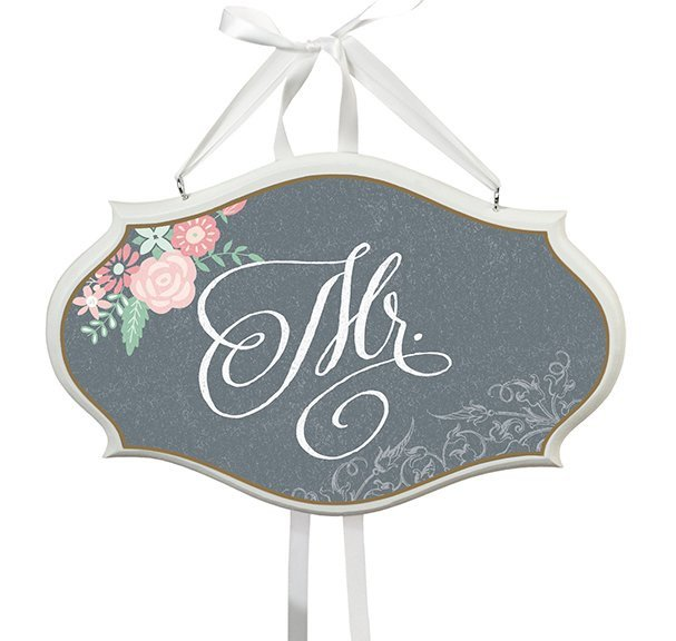 Floral Chalk Chair Sign - Mr