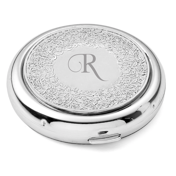 Initial Silver Floral Compact Mirror