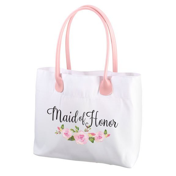Floral Maid of Honor Tote Bag