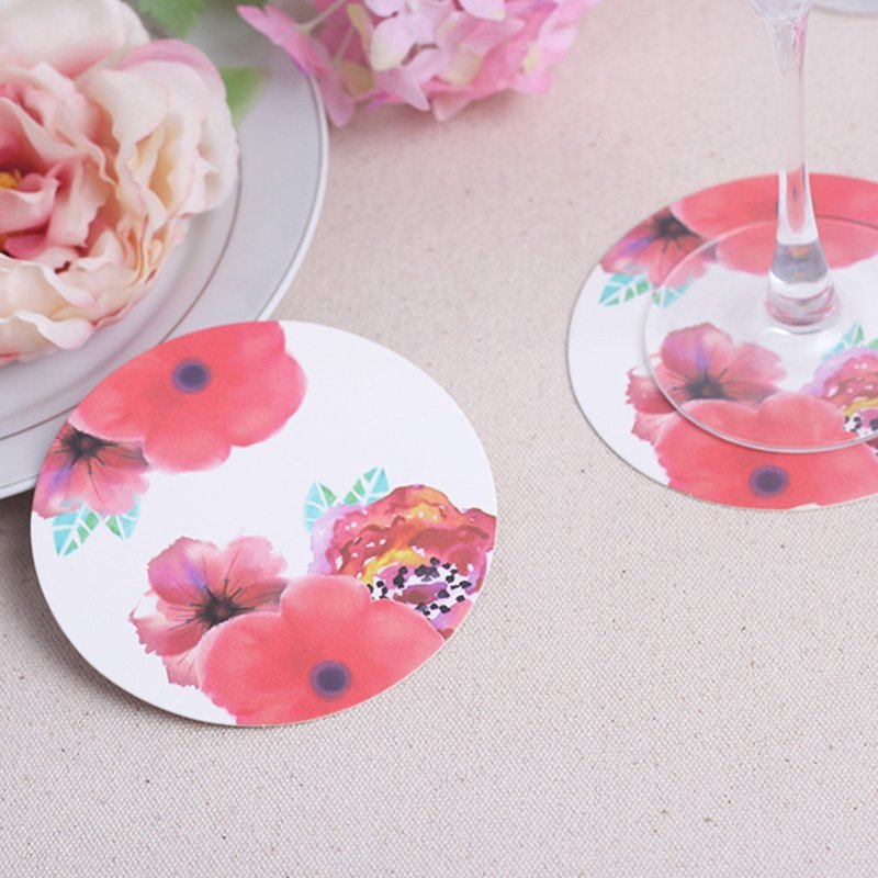 Floral Paper Coasters - set of 12