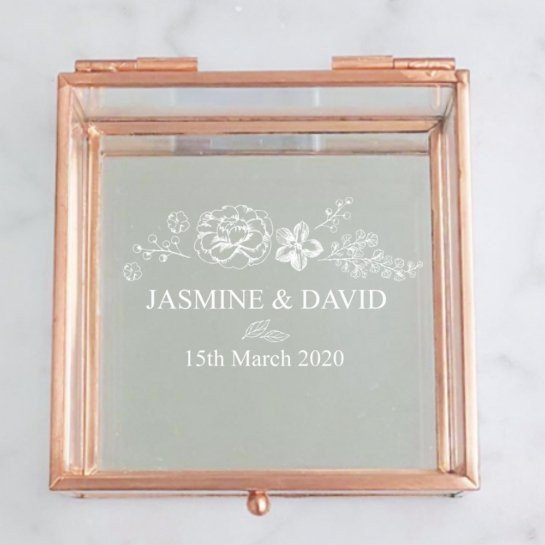 Floral Rose Gold Glass Jewellery Box