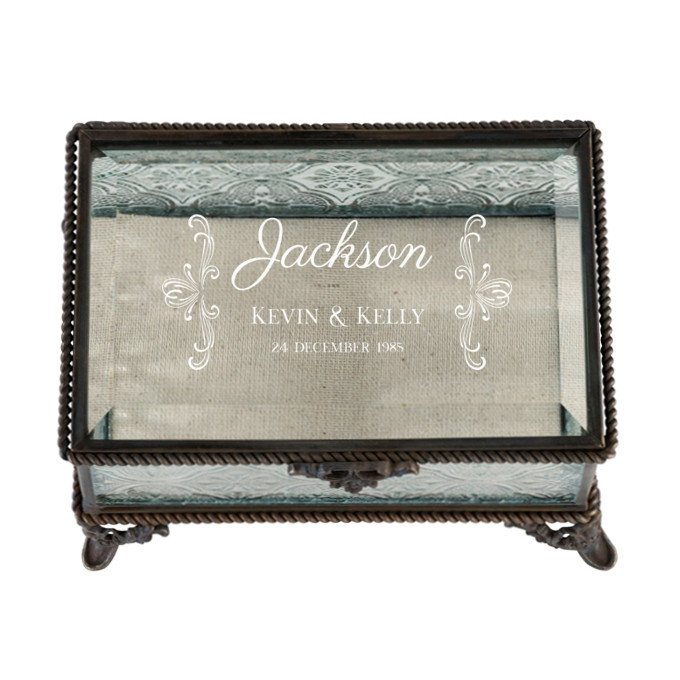 Flourish Script Rustic Glass Ring Box