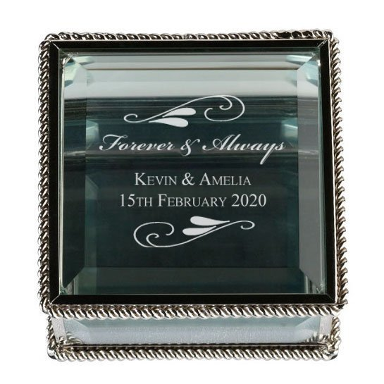 Flourish Silver Glass Ring Box