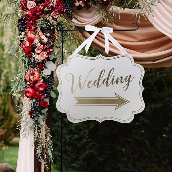 Gold Wedding Arrow Sign