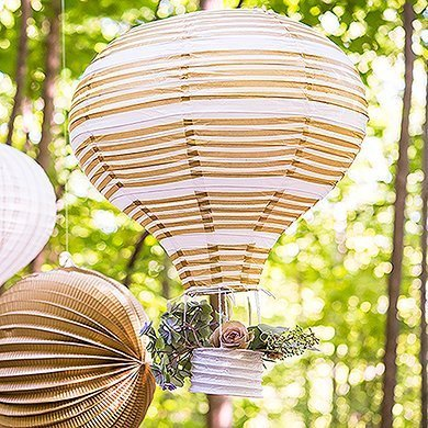 Gold & White Hot Air Balloon Paper Lanterns