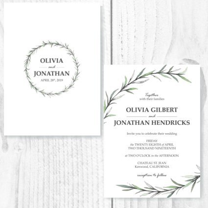 Olive Wreath Invite