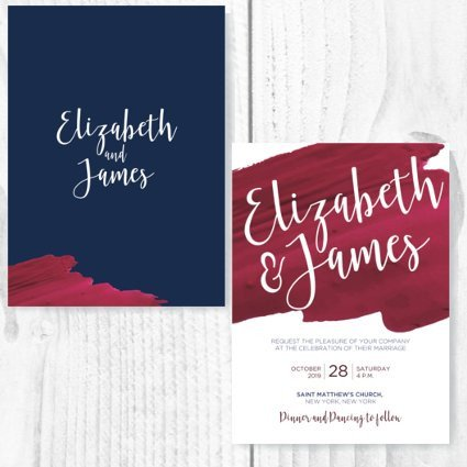 Burgundy Navy Theme Invite