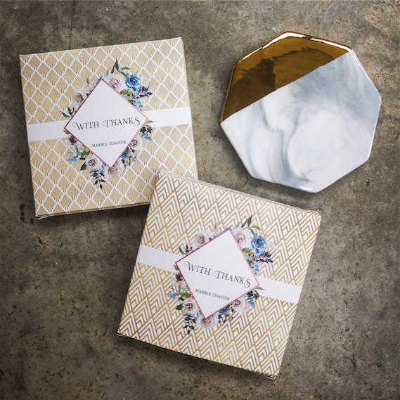 Marble & Gold Coaster Favors