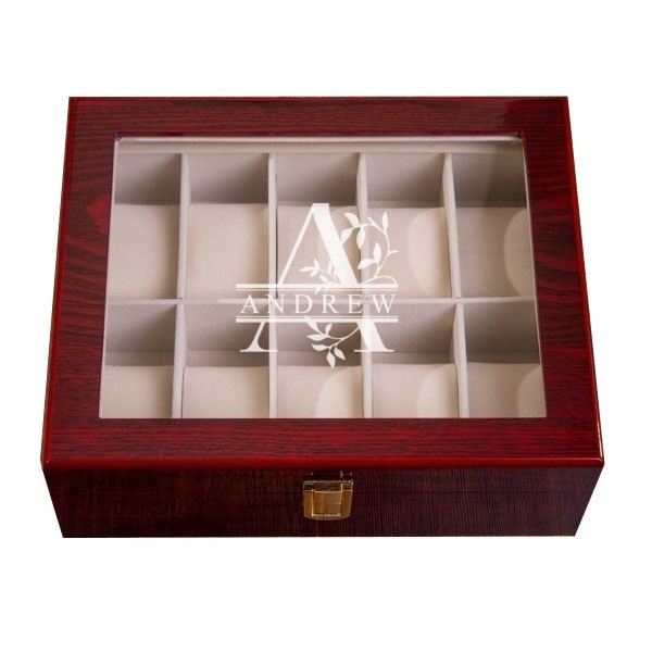 Leaf Monogram Mahogany Watch Box - 10 Slots