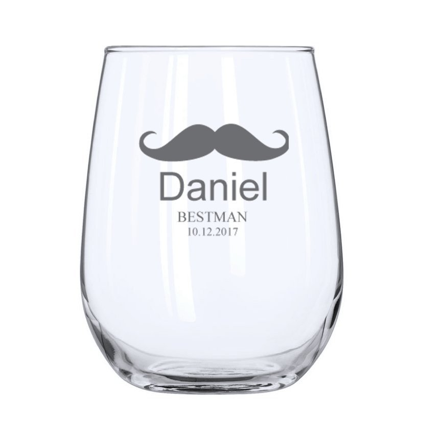 Mustache Stemless Wine Glass