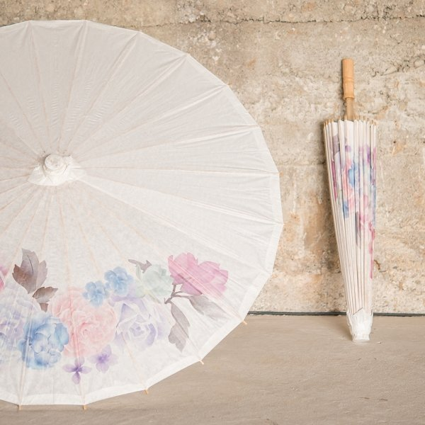 Vintage Floral Paper Parasol