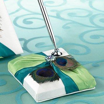 Peacock Feather Pen Set