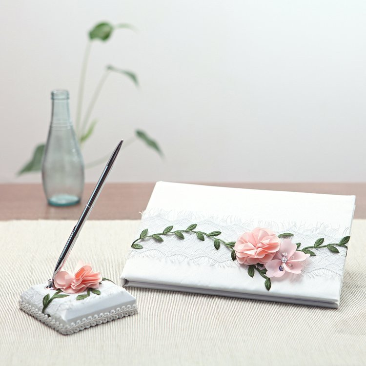 Pink Rose Guestbook & Pen Set