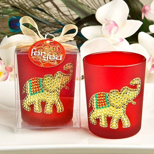 Ruby Red Elephant Candle Holders