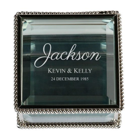 Script Silver Glass Ring Box