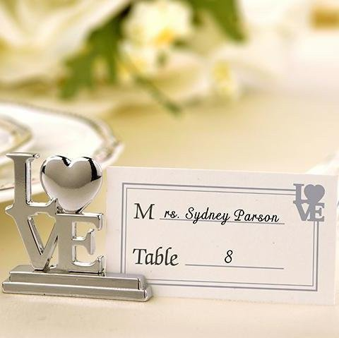 Silver LOVE Place Card Holder Favors