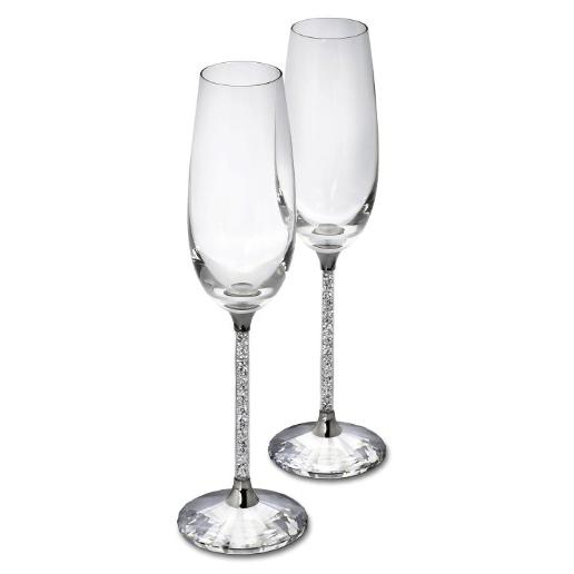 Swarovski Crystalline Toasting Flutes - set of 2 Silver