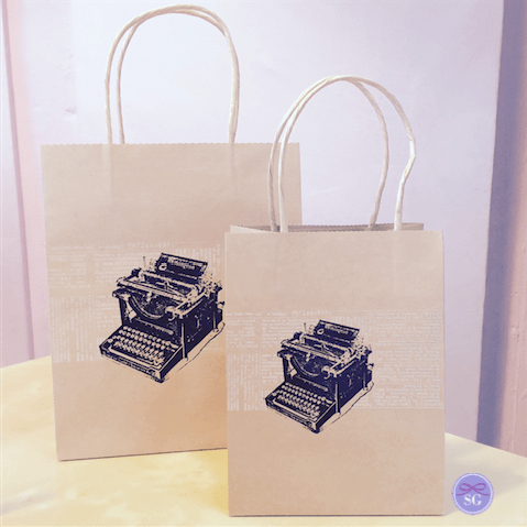 Typewriter Themed Gift Bags - Small