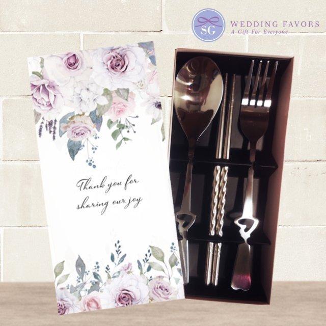 Violet Floral Cutlery Set