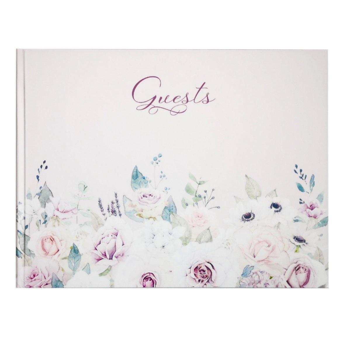 Violet Floral Guest Book