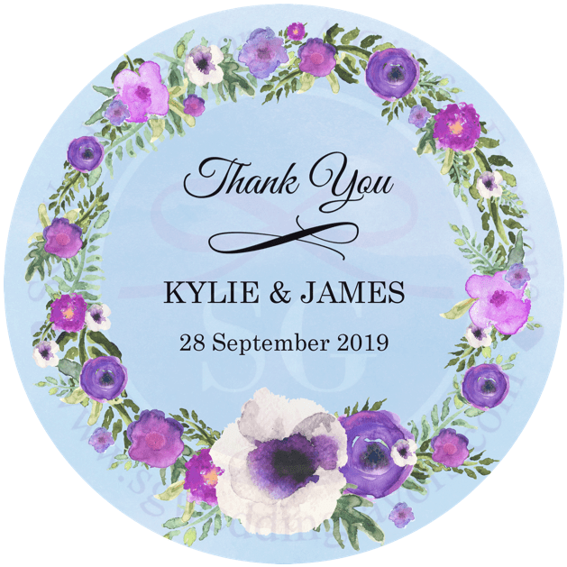 Violet Wreath Tags/Stickers