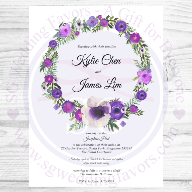 Violet Wreath Invite
