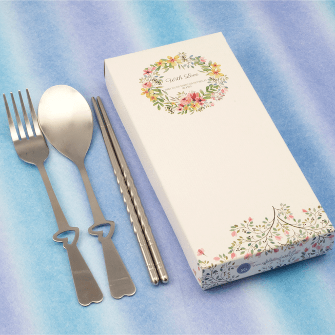 Whimsical Love Fork, Spoon & Chopsticks Set