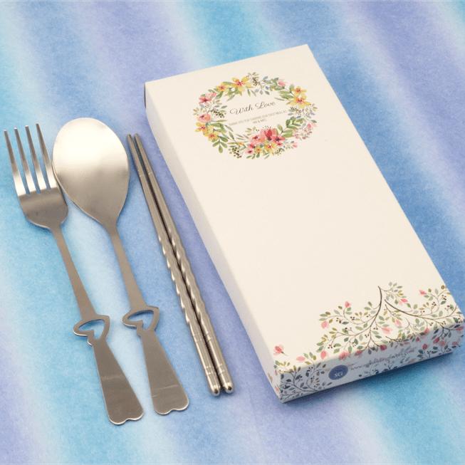 Whimsical Love Fork, Spoon & Chopsticks Set