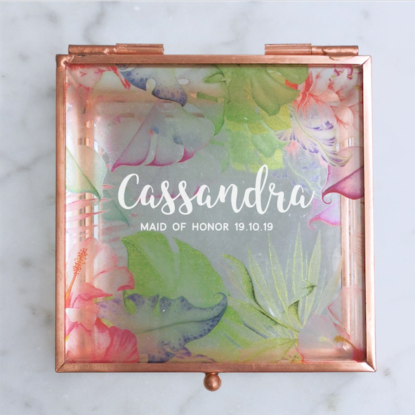 Whimsical Script Tropical Rose Gold Glass Jewellery Box