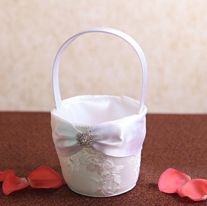 White Lace Flower Basket