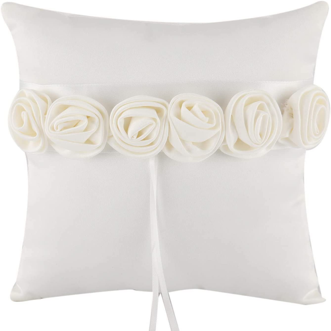 White Luxury Rose Ring Pillow