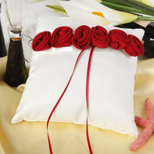 Bold Red Luxury Rose Ring Pillow